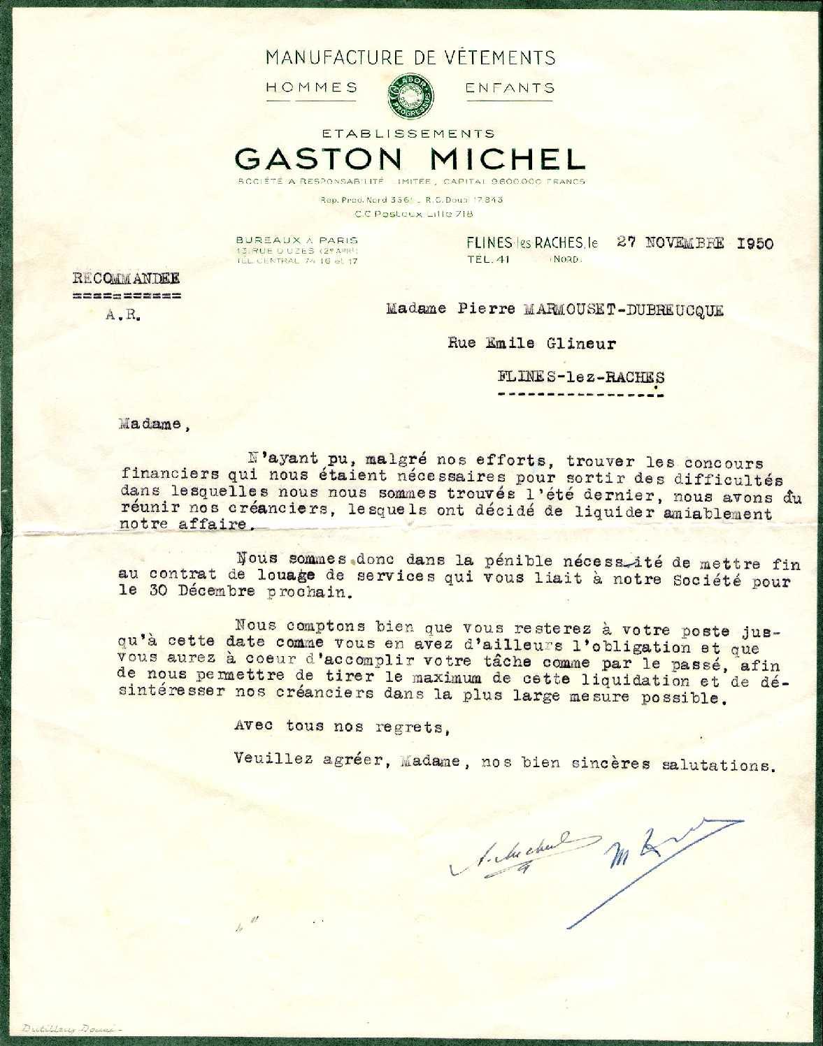 lettre licenciement